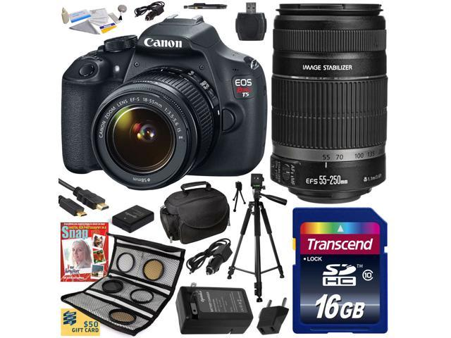 Canon EOS Rebel T5 1200D 18-55 + 55-250 Lens SLR Digital Camera (Best Value Kit) 9126B003 (16GB SD Card + SD Reader + Soft Case ...