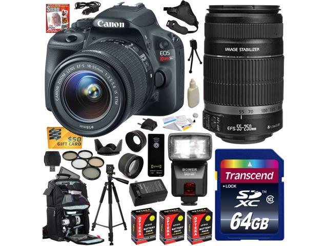 Canon Rebel SL1 100D w/ 18-55 + 55-250 DSLR SLR Digital Camera (Advanced Bundle) 8575B003 (64GB SD Card + Reader + SLR Backpack + 3X ...