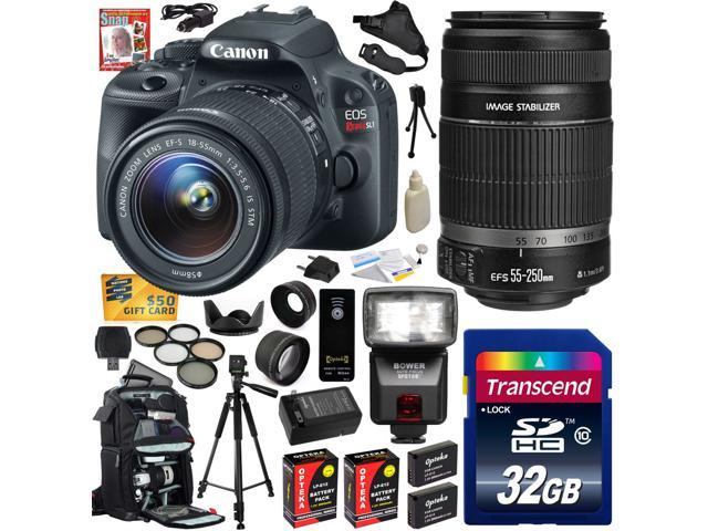 Canon Rebel SL1 100D w/ 18-55 + 55-250 SLR Digital Camera (Ultimate Bundle) 8575B003 (32GB + SD Reader + Bower Flash + 2X Battery + ...