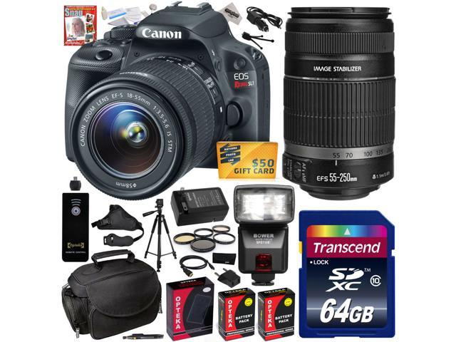 Canon Rebel SL1 100D w/ 18-55 + 55-250 SLR Digital Camera (Professional Bundle) 8575B003 (64GB SD Card + SD Reader + Soft Case + 2X ...