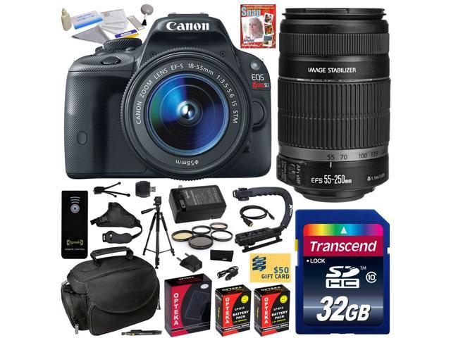 Canon Rebel SL1 100D w/ 18-55mm + 55-250mm SLR Digital Camera (Must Have Bundle) 8575B003 (32GB + SD Reader + 2X Battery + Charger + ...