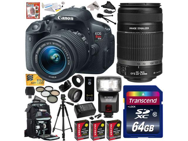 Canon Rebel T5i w/ 18-55 + 55-250mm Lens DSLR Digital Camera (Advanced Bundle) 8595B003 (64GB SD Card + Reader + SLR Backpack + 3X Battery ...