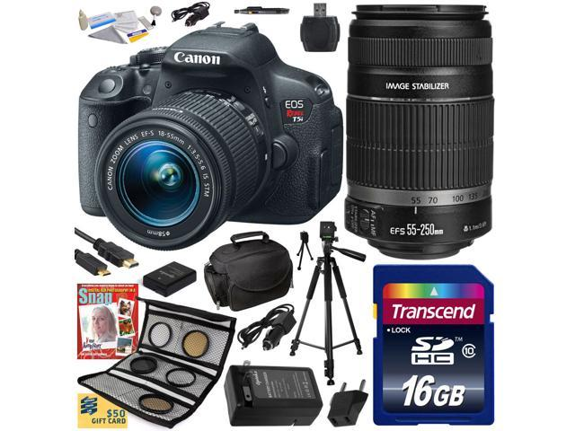 Canon Rebel T5i w/ 18-55 + 55-250 Lens DSLR Digital Camera (Best Value Bundle) 8595B003 (16GB SD Card + SD Reader + Soft Case + ...