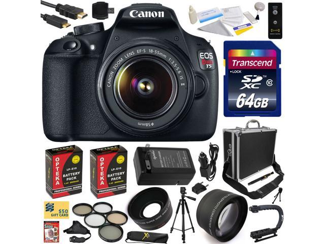 Canon Rebel T5 18-55mm 1200D DSLR SLR Digital Camera (Exclusive Bundle) 9126B003 (64GB SD Card + SD Reader + Hard Case + 2X Battery + ...