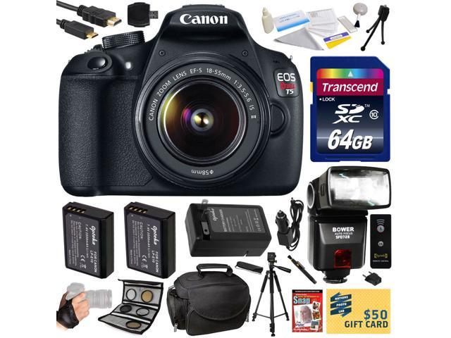 Canon Rebel T5 1200D DSLR SLR Digital Camera (Professional Bundle) 9126B003 (64GB SD Card + SD Reader + Soft Case + 2X Battery + Charger ...