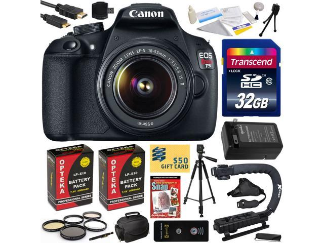 Canon Rebel T5 1200D 18-55mm DSLR SLR Digital Camera (Must Have Bundle) 9126B003 (32GB + SD Reader + 2X Battery + Charger + Hand Grip ...