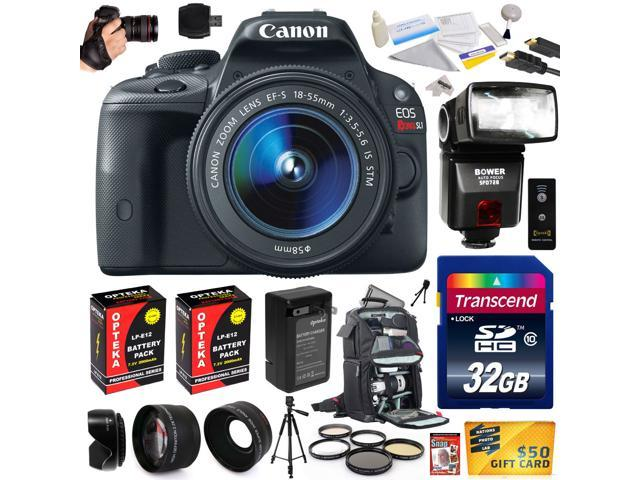 Canon Rebel SL1 100D with 18-55mm DSLR SLR Digital Camera (Ultimate Bundle) 8575B003 (32GB + SD Reader + Bower Flash + 2X Battery + Charger ...
