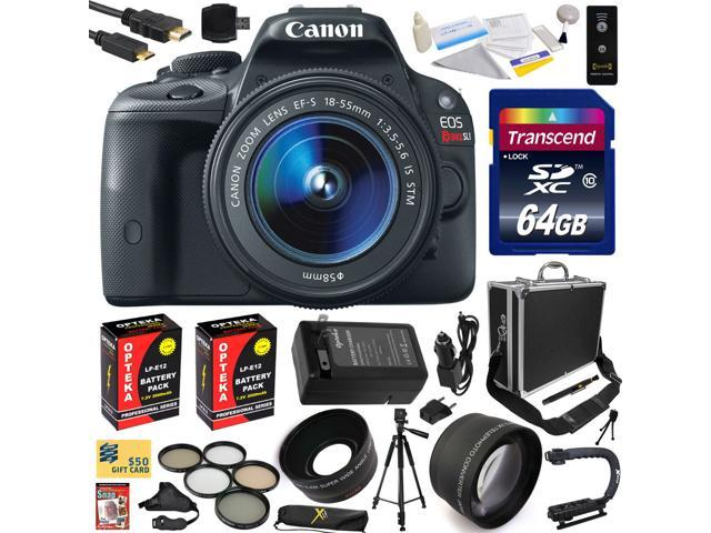 Canon Rebel SL1 100D with 18-55mm DSLR SLR Digital Camera (Exclusive Bundle Kit ) 8575B003 (64GB SD Card + SD Reader + Hard Case + ...