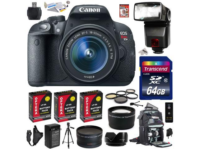 Canon Rebel T5i with 18-55mm DSLR SLR Digital Camera (Advanced Bundle Kit ) 8595B003 (64GB SD Card + Reader + SLR Backpack + 3X Battery ...