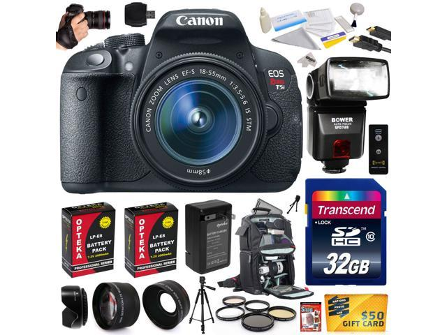 Canon Rebel T5i with 18-55mm DSLR SLR Digital Camera (Ultimate Bundle Kit) 8595B003 (32GB + SD Reader + Bower Flash + 2X Battery + Charger ...