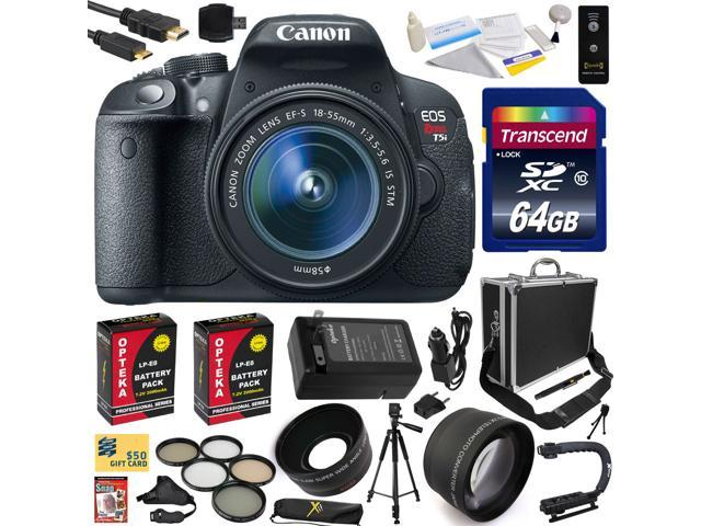 Canon Rebel T5i with 18-55 DSLR SLR Digital Camera (Exclusive Bundle Kit) 8595B003 (64GB SD Card + SD Reader + Hard Case + 2X Battery ...