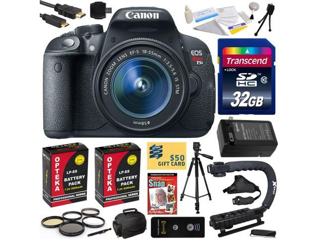 Canon Rebel T5i with 18-55 DSLR SLR Digital Camera (Must Have Bundle Kit ) 8595B003 (32GB + SD Reader + 2X Battery + Charger + ...