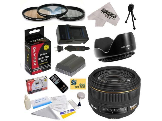 Sigma 30mm f/1.4 EX DC HSM Autofocus Lens for Nikon with 62MM 3 Piece Filter Kit, Lens Hood, EN-EL3E 2000MAH, Charger, Remote Control, Cleaning ...