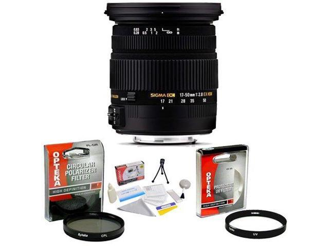Sigma 17-50mm f/2.8 EX DC OS HSM FLD Autofocus Zoom Lens for Sony + Opteka UV Filter + Opteka CPL Filter + Opteka 5 Piece ...