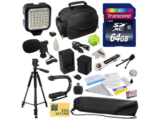 Advanced Accessory Kit for Sony MC50, NX30, NX70, TD10, TD20, TD30, HC9, VG10, VG20, VG900, AX100 Video Camera Camcorder Includes 64GB High Speed ...