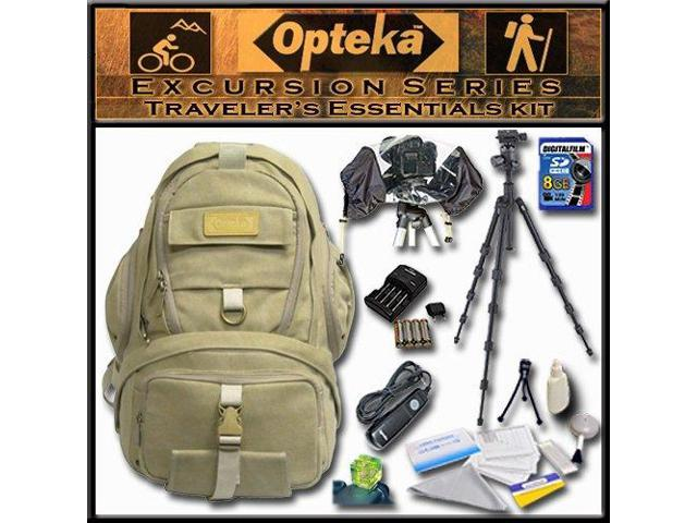 Opteka's Traveler's Essentials Kit by Opteka Package Includes Excursion Series C950 Full-Size Waterproof Canvas Backpack, Heavy Duty Tripod, 8GB ...