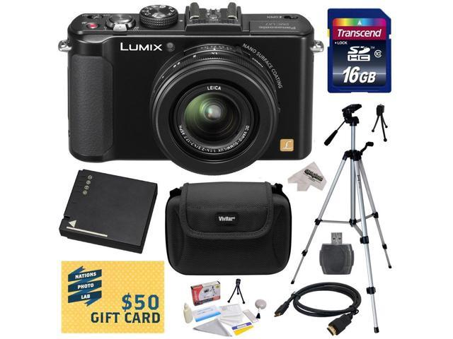 Panasonic LUMIX DMC-LX7K LX7 10.1 MP Digital Camera with 3.8x Optical Zoom and 3.0-inch LCD (Black) with 16GB SDHC Card, Reader, Extra Battery, ...