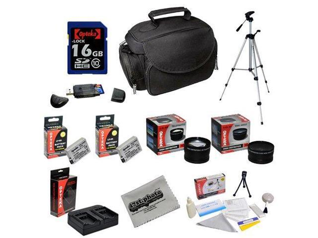 Opteka Deluxe Shooters Kit with Opteka 16GB SDHC Memory Card, Microfiber Deluxe Bag, Full Size Tripod, Extended LP-E8 LPE8 Batteries, .43x and ...