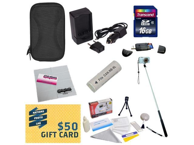 47th Street Photo Best Value Kit for Canon PowerShot Elph 510 SD450 Digital Camera Includes Replacement NB-9L Battery + Charger + Monopod + 16GB ...