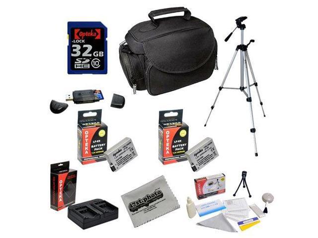 Opteka Professional Shooters Kit with Opteka 32GB SDHC Memory Card, Microfiber Deluxe Bag, Full Size Tripod, Extended LP-E8 LPE8 Batteries and ...