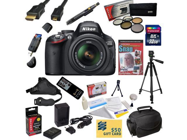 Nikon D5100 Digital SLR Camera with 18-55mm NIKKOR VR Lens With Must Have Accessory Kit: 32GB High-Speed SDHC Card + Card Reader + Extra Battery ...