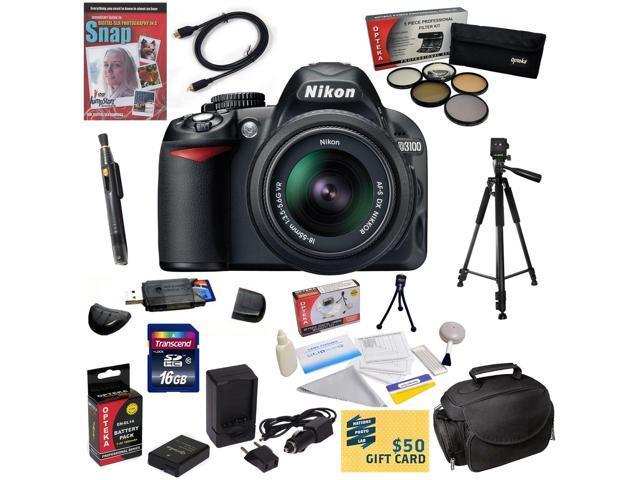 Nikon D3100 Digital SLR Camera with 18-55mm NIKKOR VR Lens With 16GB Memory Card, Card Reader, EN-EL14, Charger, 5 Piece Filter Kit, HDMI Cable, ...