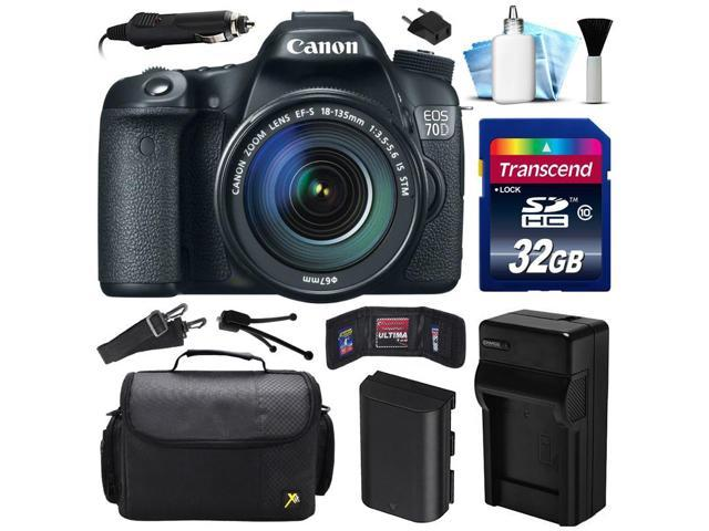 Canon EOS 70D DSLR SLR Digital Camera w/ 18-135mm STM Lens (32GB Value Bundle)