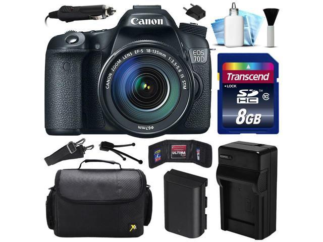 Canon EOS 70D DSLR SLR Digital Camera w/ 18-135mm STM Lens (8GB Value Bundle)