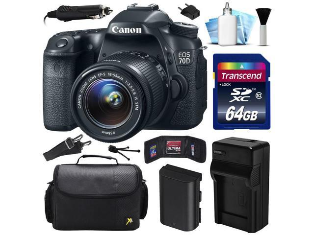 Canon EOS 70D DSLR SLR Digital Camera w/ 18-55mm STM Lens (64GB Value Bundle)