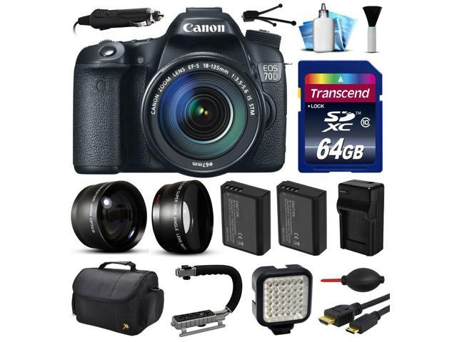 Canon EOS 70D DSLR SLR Digital Camera with 18-135mm Lens (64GB Essential Bundle)