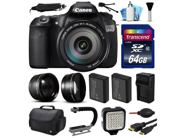 Canon EOS 60D SLR Digital Camera w/ EFS 18-200mm IS Lens (64GB Essential Bundle)