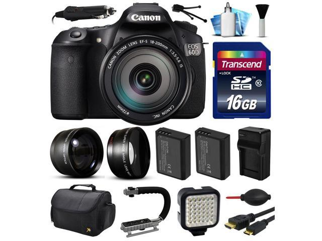 Canon EOS 60D SLR Digital Camera w/ EFS 18-200mm IS Lens (16GB Essential Bundle)