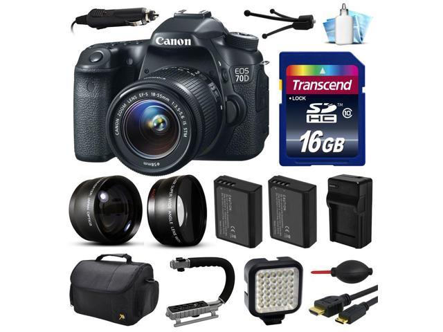 Canon EOS 70D DSLR SLR Digital Camera with 18-55mm Lens (16GB Essential Bundle)