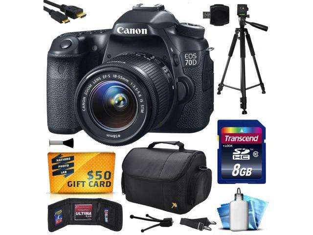 Canon EOS 70D Digital SLR Camera with 18-55mm STM Lens includes 8GB Memory + Large Case + Tripod + Card Reader + Card Wallet + ...
