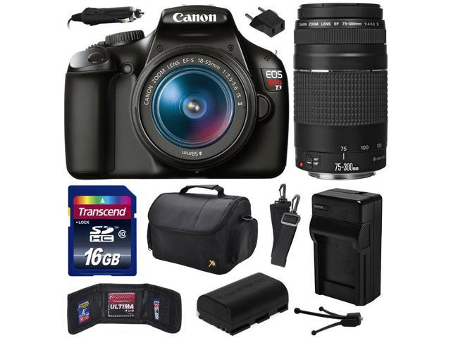 Canon EOS Rebel T3 (1100D) Digital SLR Camera with EF-S 18-55mm f/3.5-5.6 IS and EF 75-300mm f/4-5.6 III Lens includes 16GB Memory + Large Case ...