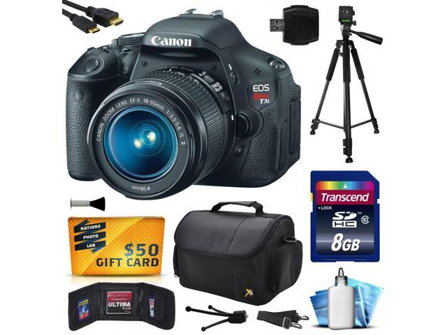 Canon EOS Rebel T3i (600D) Digital SLR Camera with EF-S 18-55mm f/3.5-5.6 IS Lens with 8GB Memory + Large Case + Tripod + Card Reader ...