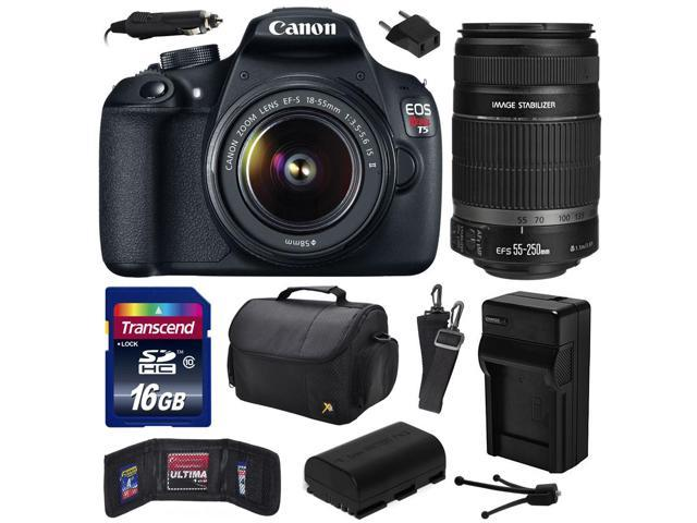 Canon EOS Rebel T5 (1200D) Digital SLR Camera with EF-S 18-55mm IS II and EF-S 55-250mm f/4-5.6 IS II Lens includes 16GB Memory + Large ...