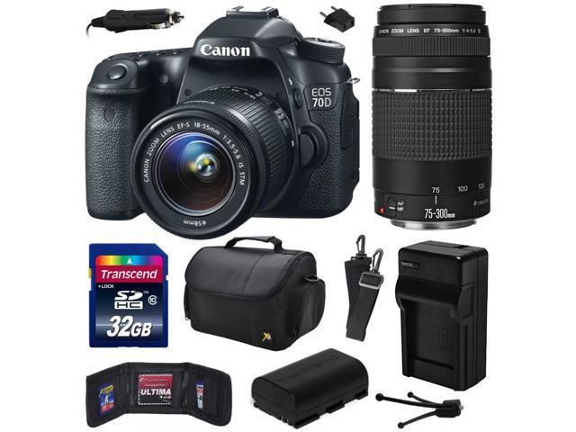 Canon EOS 70D Digital SLR Camera with 18-55mm STM and EF 75-300mm f/4-5.6 III Lens includes 32GB Memory + Large Case + Extra Battery + ...
