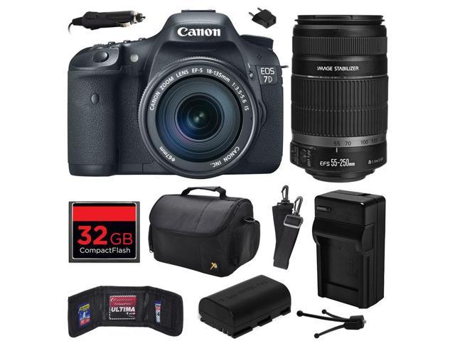 Canon EOS 7D 18 MP CMOS Digital SLR Camera with 18-135mm f/3.5-5.6 IS UD and EF-S 55-250mm f/4-5.6 IS II Lens includes 32GB Memory + ...