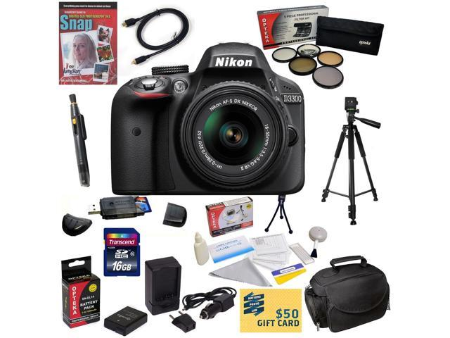 Nikon D3300 Digital SLR Camera with 18-55mm NIKKOR VR II Lens With 47th Street Photo Best Value Accessory Kit: 16GB High-Speed SDHC Card + Card ...