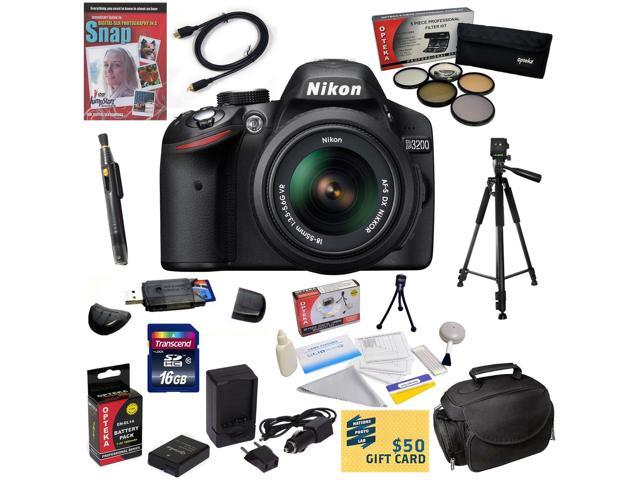 Nikon D3200 Digital SLR Camera with 18-55mm NIKKOR VR Lens With 47th Street Photo Best Value Accessory Kit: 16GB High-Speed SDHC Card + Card ...