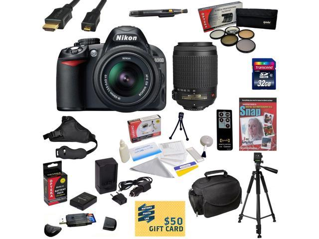 Nikon D3100 Digital SLR Camera with 18-55mm & 55-200mm NIKKOR VR Lens With 32GB SDHC Card, Reader, Battery, Charger, 5 Piece Filter Kit, HDMI ...