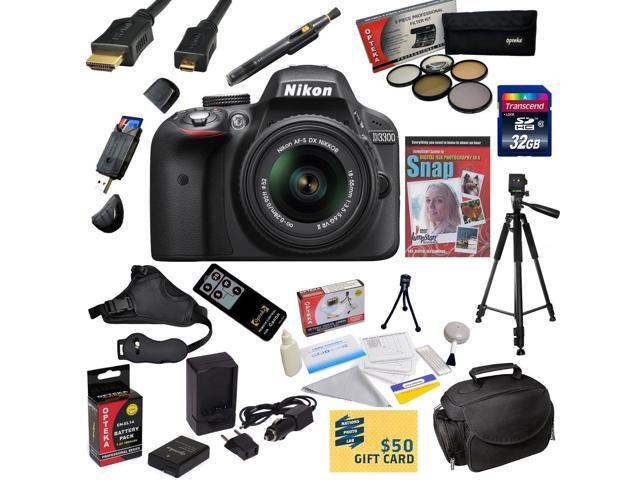 Nikon D3300 Digital SLR Camera with 18-55mm NIKKOR VR II Lens With 32GB SDHC Card, Battery, Charger, 5 PC Filter, HDMI Cable, Case, Remote, ...