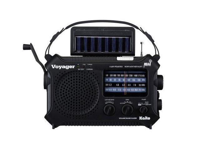 Katio KA500 Solar Crank Emergency Radio with AM FM NOAA Weather and Shortwave - Black Free AC Adapter Included