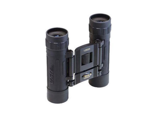 BSA Optics 12x25 Compact Rubber Armored Roof Prism Binoculars, Black - Clam Pack