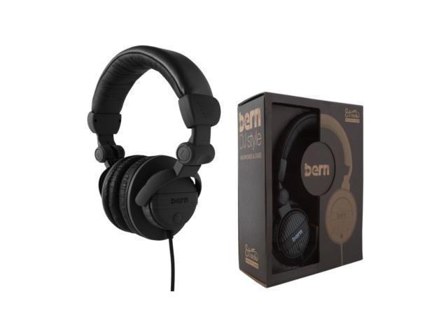 Bern DJ Style Headphones w/Case (Black DJ Headphones w/ Black Case)