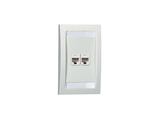Faceplate, Single Gang, 2 Ports, Ivory