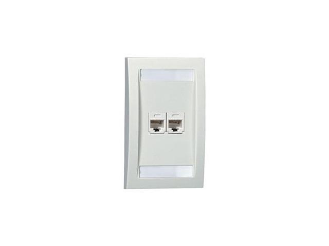 Faceplate, Single Gang, 2 Ports, White