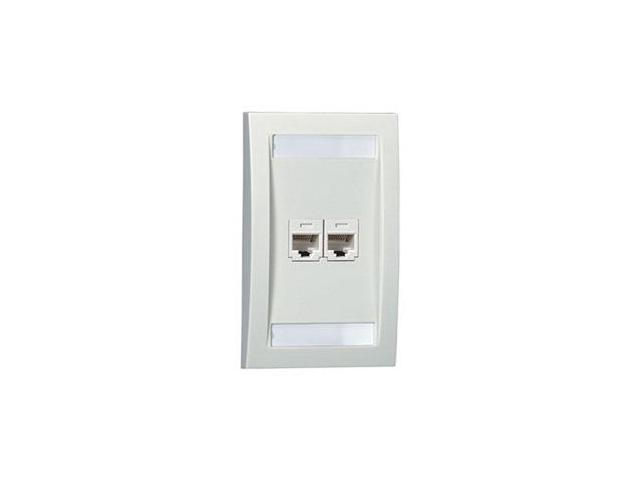 Faceplate, Single Gang, 2 Ports, Off White