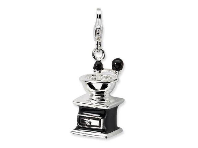 Sterling Silver 3-D Enameled Black Coffee Grinder with Lobster Clasp Charm